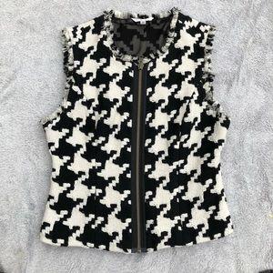 Cabi houndstooth zip up vest